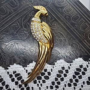 Monet Bird of Paradise rhinestone brooch